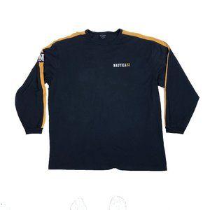 Nautica 83 2XL Long Sleeve Shirt Crew Neck Blue